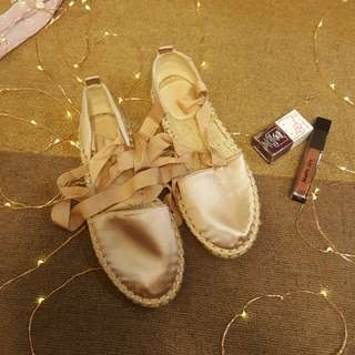 Mango Blush Satin Lace Up Espadrilles