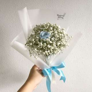 Preserved Blue Rose with Baby Breath