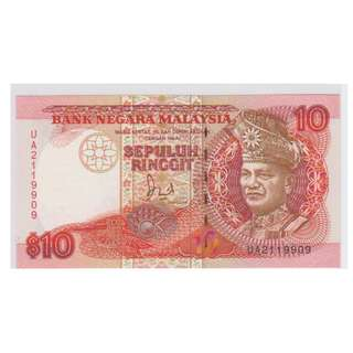 (BN 0127) 1986-87 Malaysia 10 Ringgit, TDLR- UNC