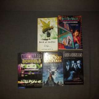 5 horrow suspense books: Lord of the flies The dollhouse murder Night mare schools true ghost stories Return to firetop Mountain know what you did last summer