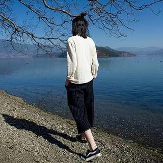 [U'NIDO]原創手作 日常隨心百搭捲邊八分褲-針織條紋/ 天然純棉/ 時尚簡約/ 日常白搭 / 自在舒適/ 暖心禮物