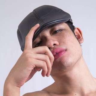 Black Flat Hat (Pleather)