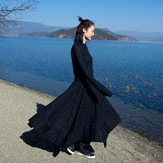 [U'NIDO]原創手作 日常隨心百搭拼接傘長裙-針織條紋/ 天然純棉/ 時尚簡約/ 日常白搭 / 自在舒適/ 暖心禮物