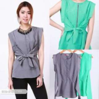 Plain tied blouse grey