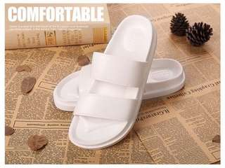 Unisex PVC Slippers (White / Black)