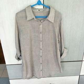 TEMT grey button down long sleeve shirt