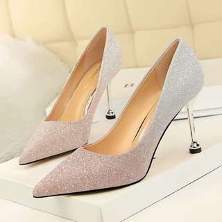 Size 34-40 Gradient Glitter Pointed Toes High Heels