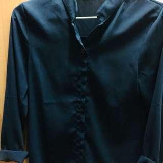 🚚 深藍雪紡韓版襯衫