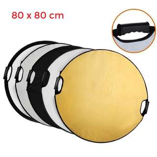 PXEL RF-8X8 5 in 1 32inch 80cm Round Reflector Diffuser w Grip Handle