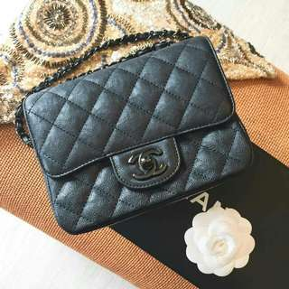 Chanel So black mini square flap bag
