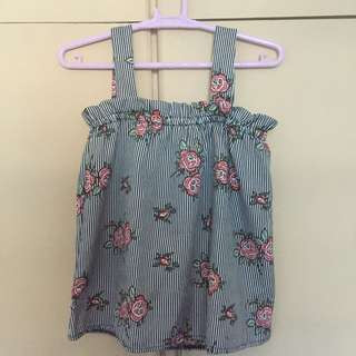 Wide strap floral sleeveless