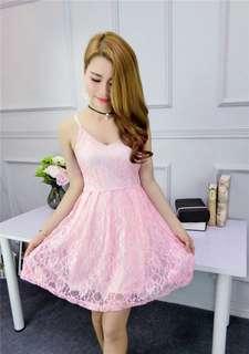 AO/MKC071917 - Korean High Waist Backless Lace Dress