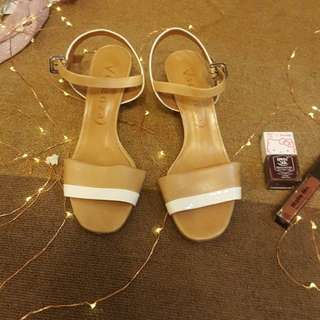 CMG Vicenza Two Tone Brown & White Block Heel Sandals
