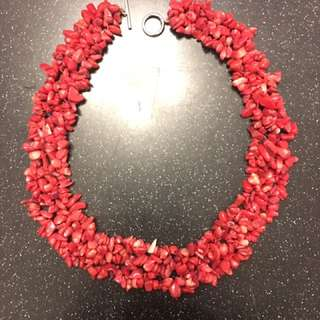 Red Coral chipped bead gemstone necklace choker