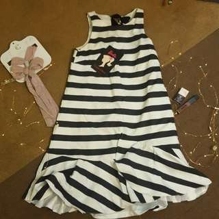 Barbie x Plains & Prints B&W Striped Dress with Black Sash