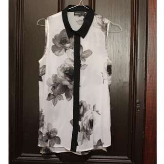 Tokito Sheer Sleeveless Black and White Rose Top Size 6AU