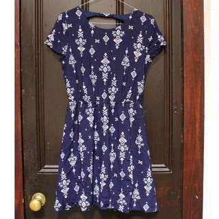 Miss Shop NEW Navy Patterned Dress Size AU 6
