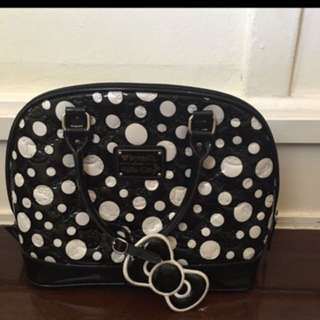 Women Hello Kitty Purse Black With White Dots LOUNGEFLY