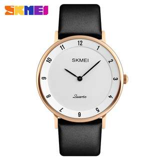 SKMEI Jam Tangan Analog Pria PU Leather - 1263 - Rose Gold/White