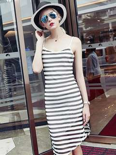 AO/DZC072008 - European Stripes Hollow Out Bodycon Straps Dress
