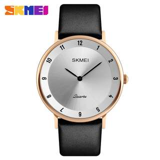 SKMEI Jam Tangan Analog Pria PU Leather - 1263 - Rose Gold/Silver
