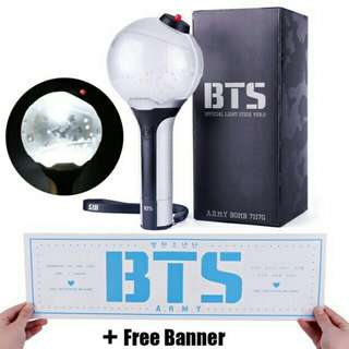 Bangtan Bomb Ver.2 ( ready stock with free gift banner , postage rm5 to both wm em)