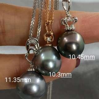 特價大溪地黑珍珠18k鑽石💎吊墜 左到右依次11.35mm正圓強光極小瑕 10.3mm無瑕強光 10.45mm正圓無瑕強光 三款你喜歡邊款啊!🤗