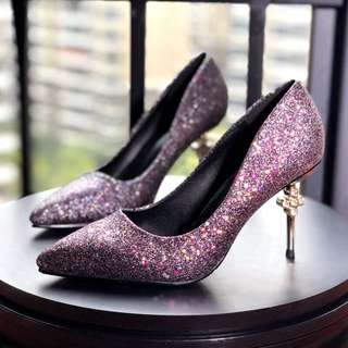 Size 34-39 Glitter Pointed Toes Diamond Rhinestone High Heels