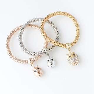 Owl charm bracelet (set of 3)