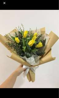 Yellow Tulips with Baby Breath Flash Sale / 4 tulips left : Birthday Bouquet