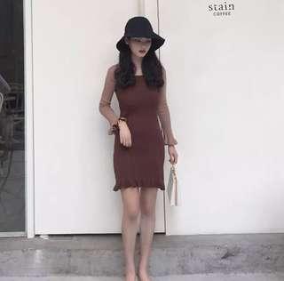 Korean 2 tone Dress (2 Colors)