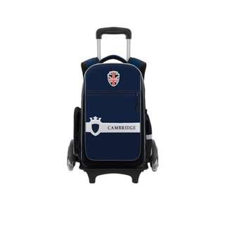 CAMBRIDGE HIGH QUALITY SPINE CARE SCHOOL BAG WITH TROLLEY_KQ17174_NAVY BLUE BIG
