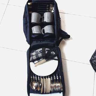 Camping cutlery set in back pack