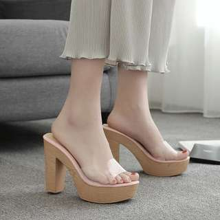 Size 34-39 Transparent Peep Toes Slip On Chunky High Heels