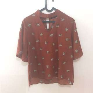 Uptown Girl Brown Flower Pattern Top