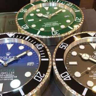 Wall clock for Rolex Black Sub, Green Sub, Deepsea Blue. with one year warranty.