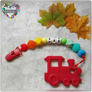 Handmade Customized Pacifier Clip with letter beads + Red Train teether
