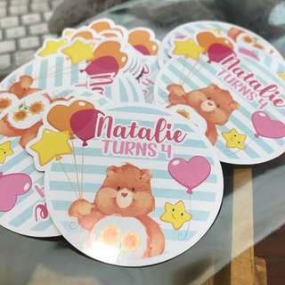 Customised birthday stickers labels