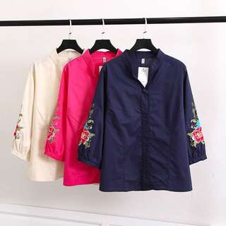 (XL~4XL) 2018 embroidered plate buckle shirt casual short primer shirt