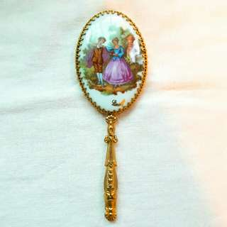歐美談情說愛金屬+骨瓷小巧手拿鏡