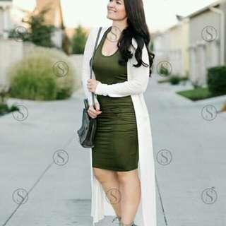Dress +White Long Cardigan