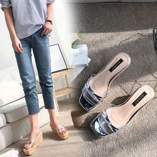 Size 34-39 Transparent Peep Toes Slip On Wedges