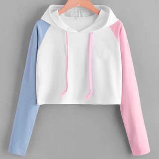 PLUS SIZE Tri Crop Sweater pink blue white