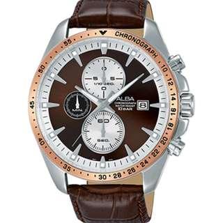 Alba AM3442X1 Men Chronograph Jam Tangan Pria AM3442 AM3442X Brown Leather