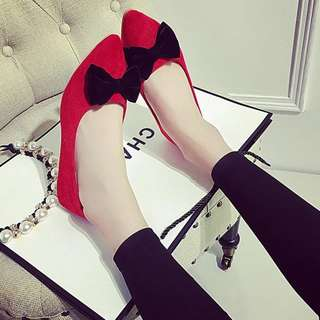 korean suede red ribbon flats