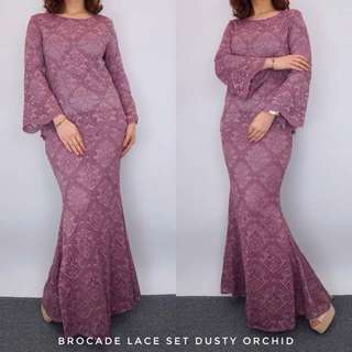 (PO) BROCADE LACE KURUNG SET / BRIDESMAID DRESS (Dusty Orchid, Emerald Green, Glam Maroon, Majolica Blue, Dusty Olive, Madigras Gold, Dusty Red, Dusty Pink, Dusty Grey)
