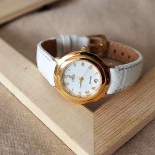 Vintage: Cadali Halo In White - Minimalist 31-Date Leather Watch