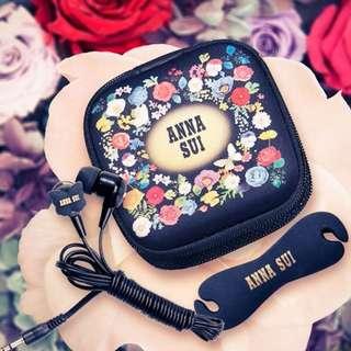 全新 有原裝盒 Anna Sui 經典蝴蝶入耳式耳機套裝+碎花收納盒+捲線器