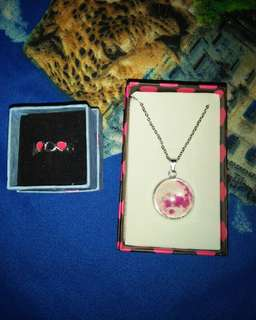 BUNDLE! Moon Necklace + Heart Ring (Glow in the Dark [both])