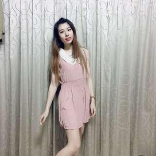全新韓國進口小碎花粉紅洋裝